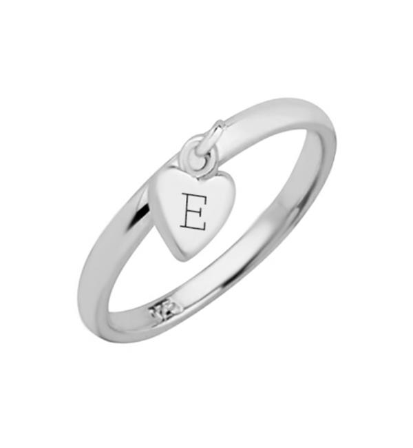 KAYA sieraden Zilveren Ring met Initiaal 'Hartje Bedel'