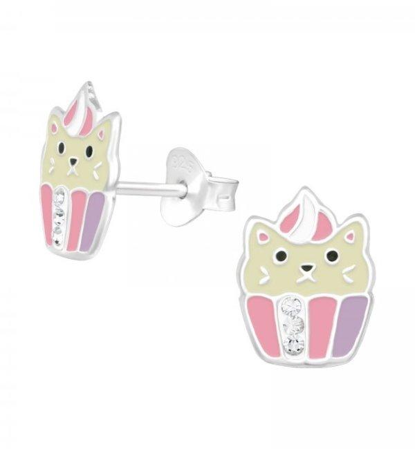 KAYA sieraden Zilveren Kinderoorbellen 'Kitten Cupcake'
