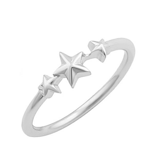 KAYA sieraden Ring 'Three Shining Stars' I Sterling Zilver
