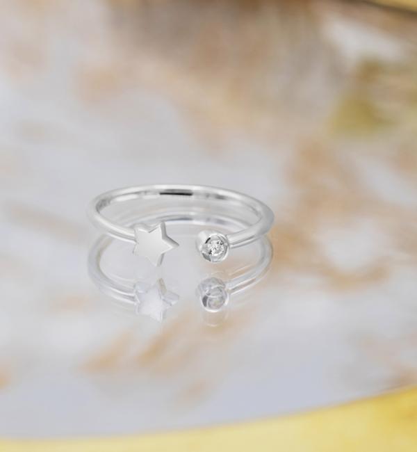 KAYA sieraden Ring 'Crystal Star' I Sterling Zilver