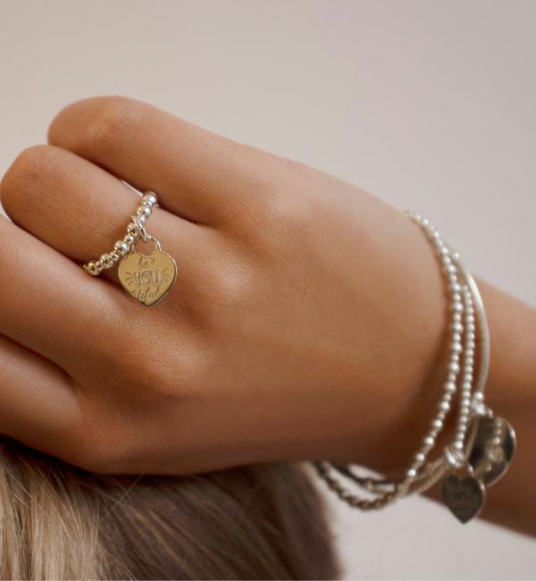 KAYA sieraden Zilveren Ring 'Bali' met Hart Bedel