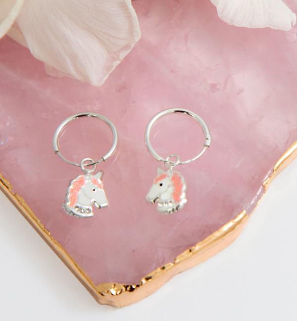 KAYA sieraden Zilveren Creolen 'Unicorn' met Glitters