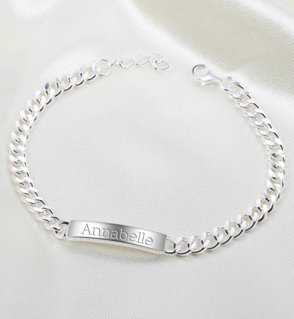 KAYA sieraden Zilveren Schakelarmband met Gravure