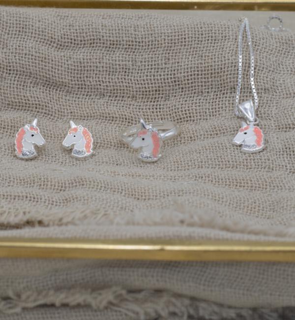 KAYA sieraden Zilveren set 'Unicorn' met ketting, ring en oorbellen