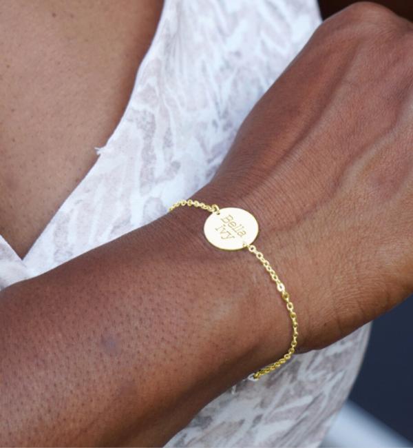 Sieraden graveren Personalized Bracelet 'Classic Bar' + charm of your choice - Copy - Copy