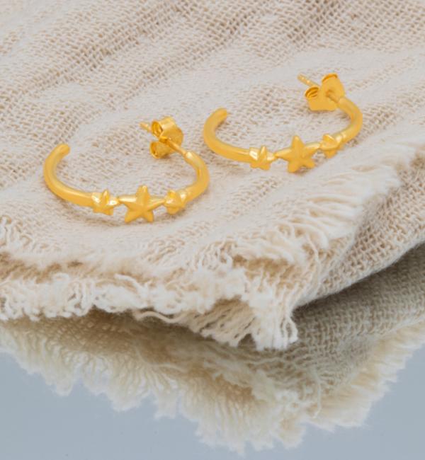 KAYA sieraden Oorbellen 'Three Shing Stars' I Gold plated