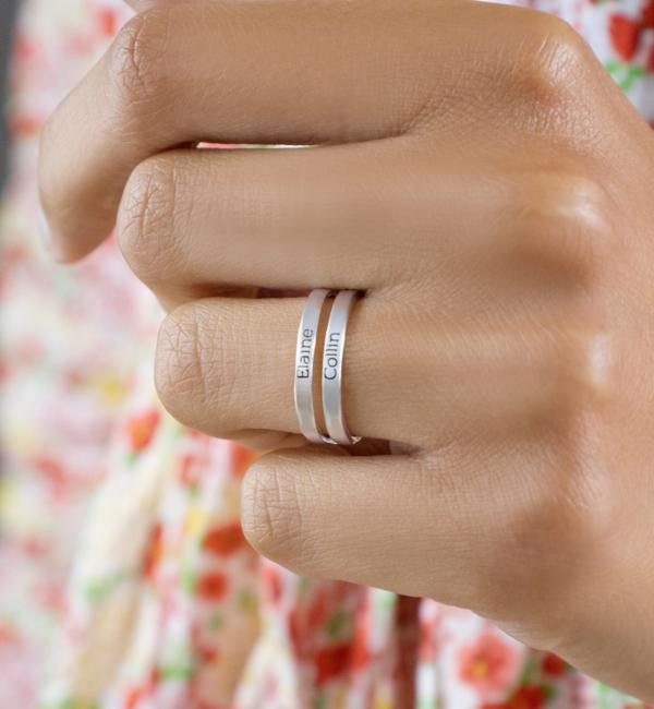 Sieraden graveren Gepersonaliseerde Zilveren Ring 'Elegant Beauty' met Namen