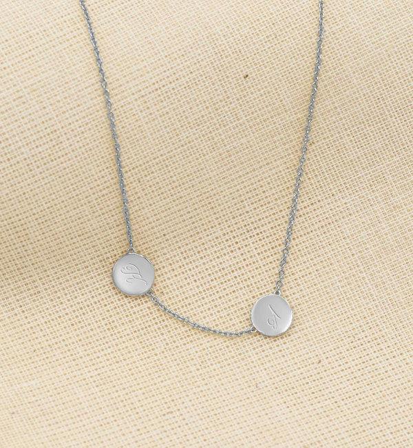 Sieraden graveren Zilveren Ketting '2 Little Discs' met Initialen