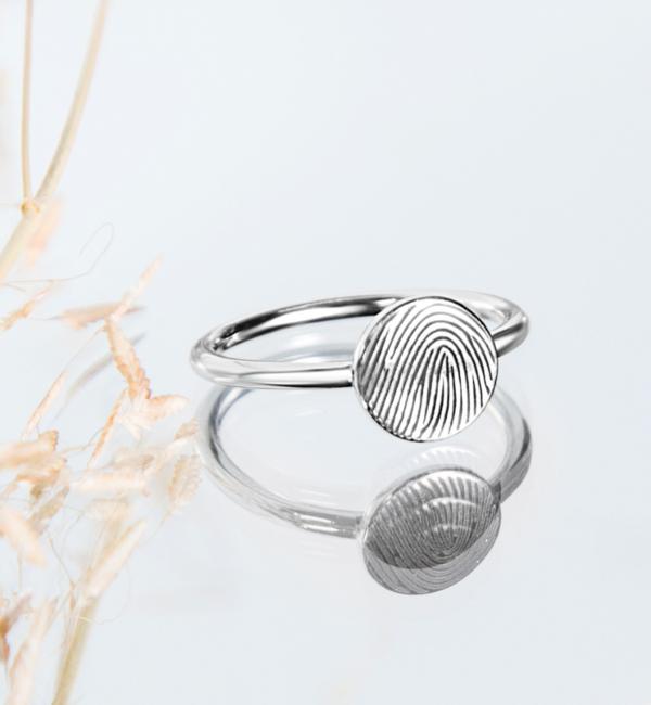 Gegraveerde sieraden Zilveren Ring met Vingerafdruk 'Disc'