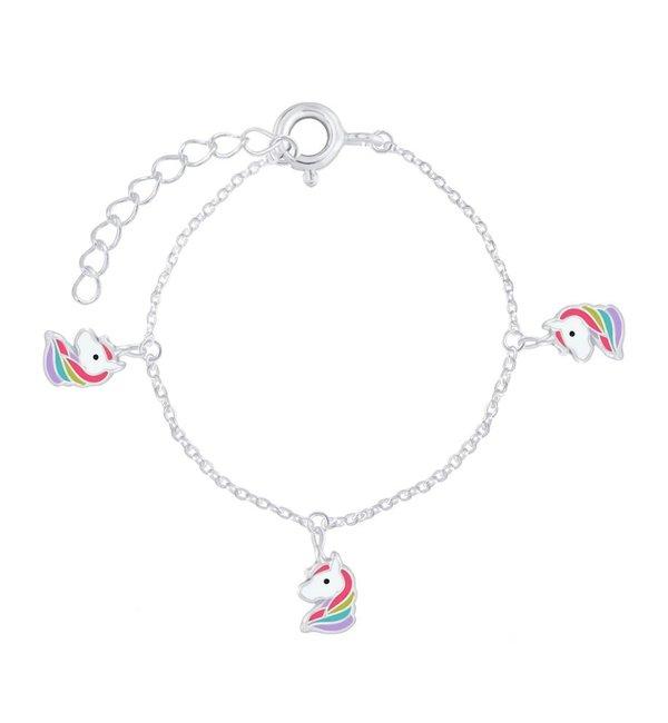 KAYA sieraden Zilveren Kinderarmband 'Rainbow Unicorns'