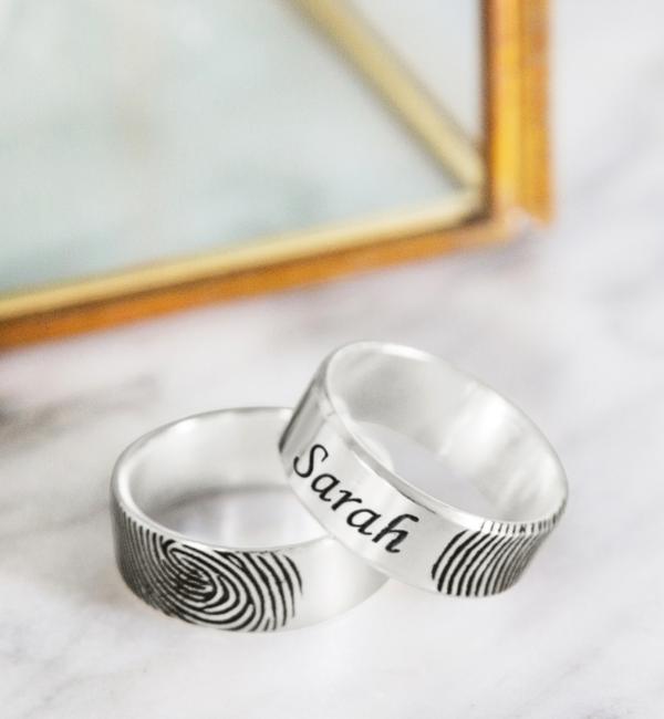 Gegraveerde sieraden Ring met Vingerafdruk en Naam | Kies de kleur
