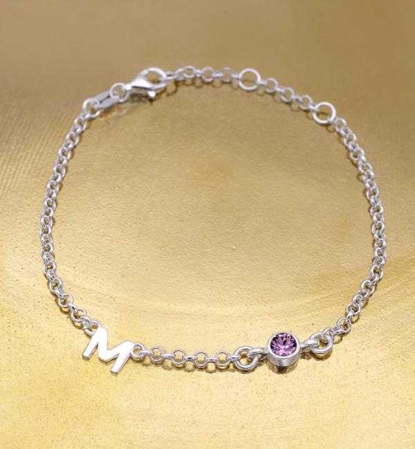 Gegraveerde sieraden Armband met Geboortesteen en Letter