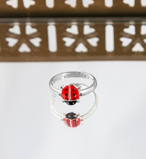 KAYA sieraden Zilveren Kinderring 'Lieveheersbeestje'
