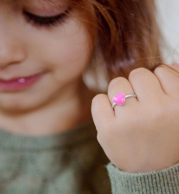 KAYA sieraden Zilveren kinderring 'Glitter Heart'
