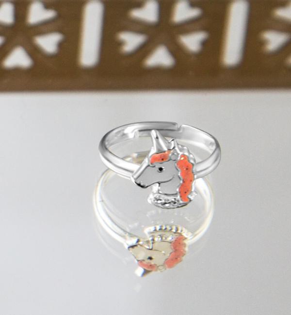KAYA sieraden Zilveren kinderring 'Unicorn' glitter