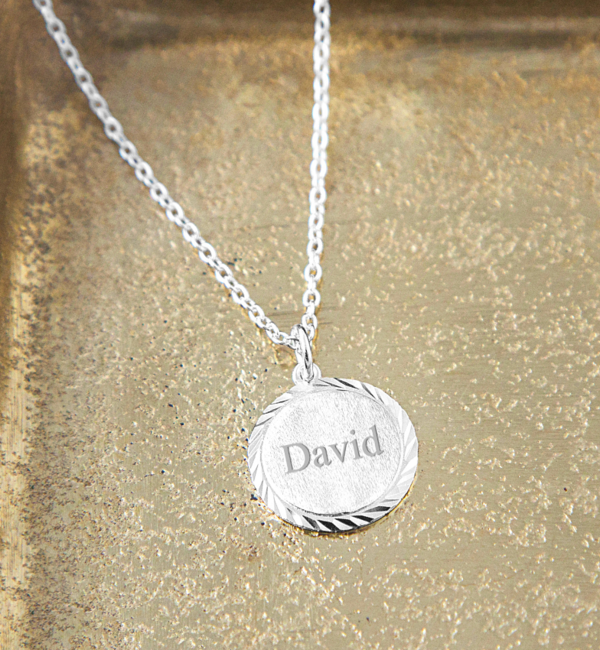 Sieraden graveren Personalised gold plated 'Vintage Disc'