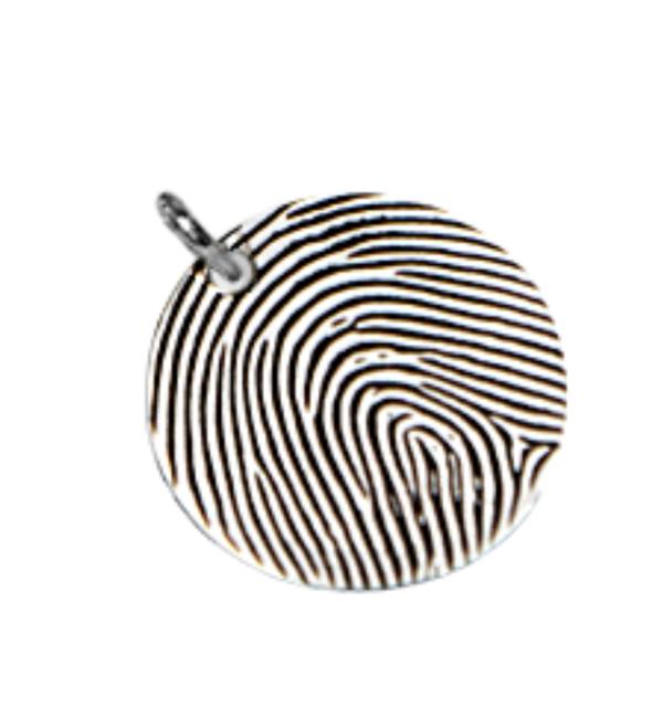 Gegraveerde sieraden Zilveren Cute Balls Armband 'Coin' met Vingerafdruk
