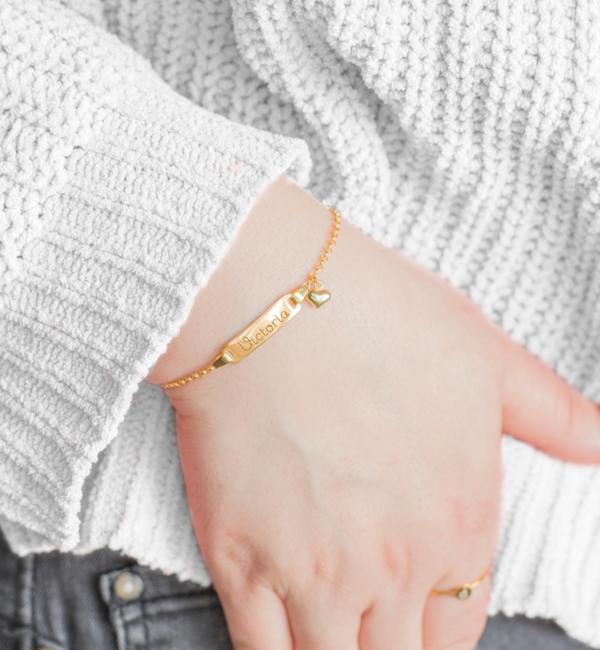 Sieraden graveren Personalized Bracelet 'Classic Bar' + charm of your choice