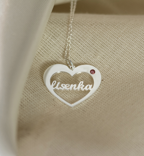 Sieraden graveren Silver necklace with birthstone and name