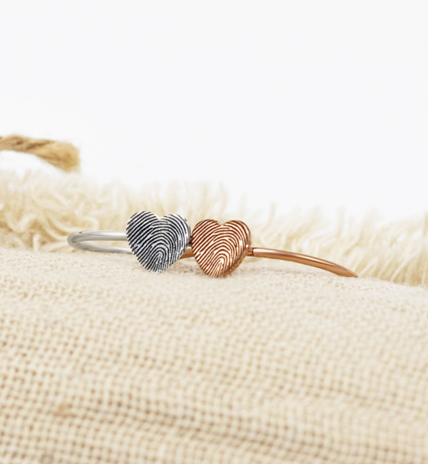 Gegraveerde sieraden Zilveren Ring met Vingerafdruk 'Hartje'
