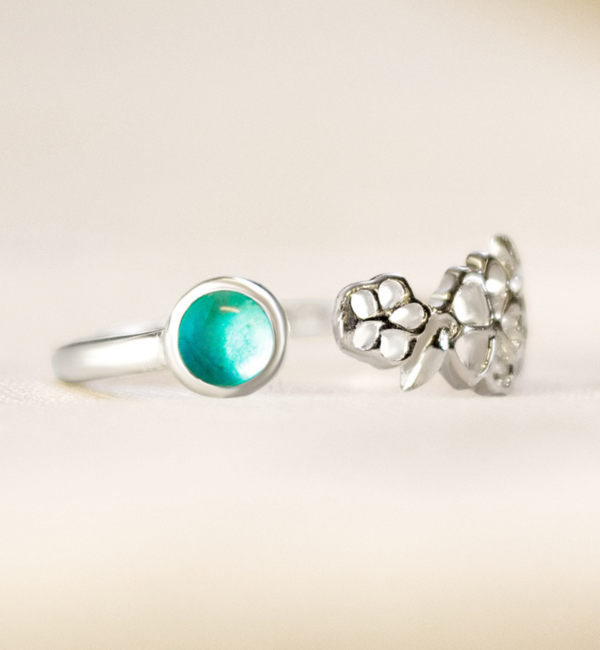 KAYA sieraden Zilveren Geboortesteen Ring 'Geboortebloem'