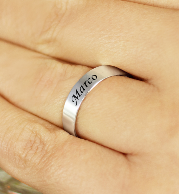 KAYA sieraden Text Silver Ring 4mm * free engraving * - Copy