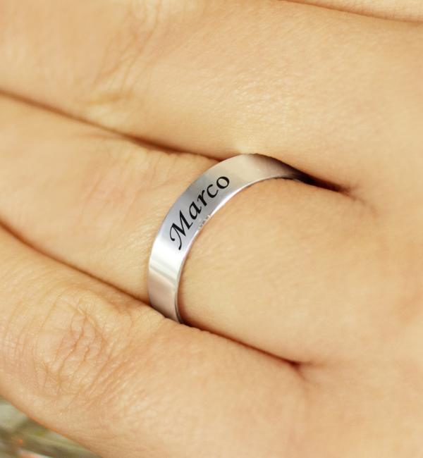Sieraden graveren Text Silver Ring 4mm * free engraving * - Copy