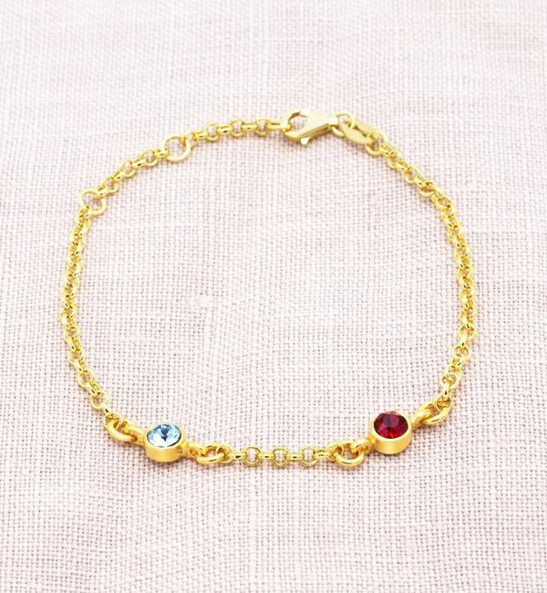 Sieraden graveren Necklace with birth stones 'two hearts' - Copy - Copy - Copy - Copy - Copy - Copy - Copy