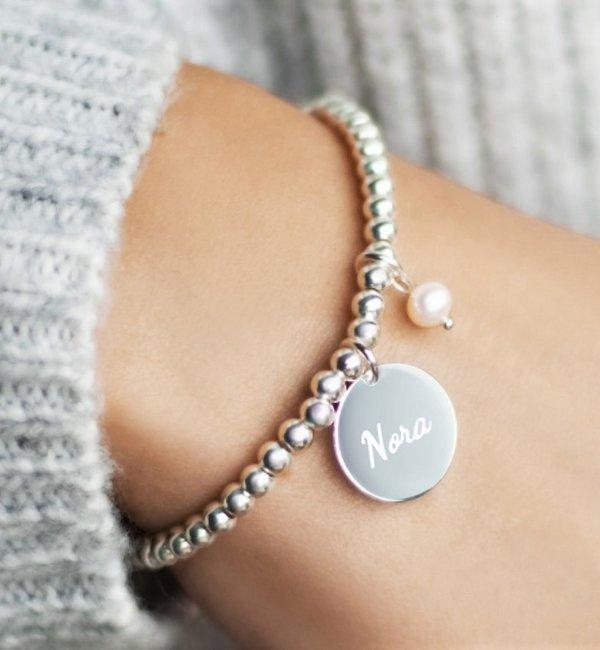 Sieraden graveren Silver bracelet 'Cute Balls' with Bead & Pearl