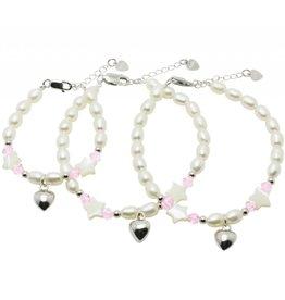 Silver 3-Generation bracelets 'Sparkling Star' with Swarovski and silver heart