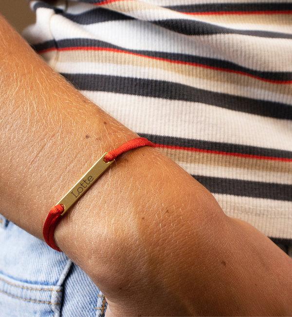 KAYA sieraden Koord Armband 'Elegant Bar' met Gravure