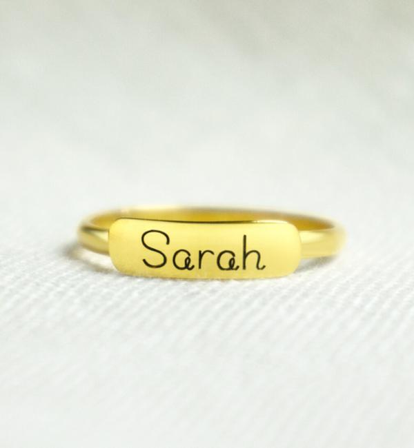 Sieraden graveren Zilveren Ring 'Elegant Bar' met Naam Gravure