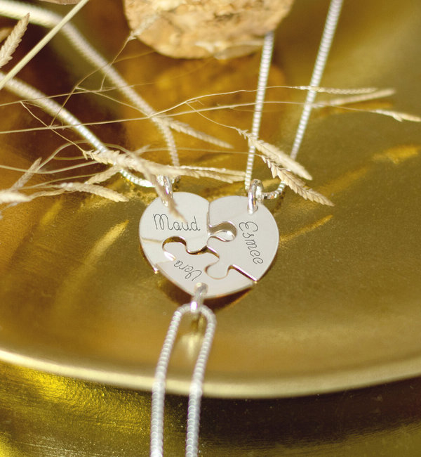 Sieraden graveren 3 silver chains break hearts for girlfriends, sisters or mother and two daughters