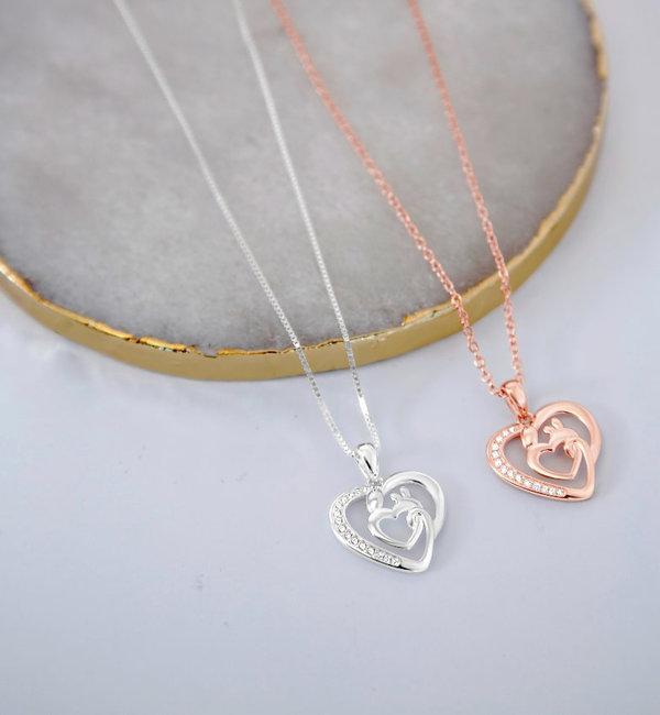 KAYA sieraden Zilveren Moeder ketting Crystals 'Moeder & Kind'