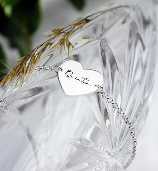 Sieraden graveren Armband Sweetheart 'Eigen Handschrift'
