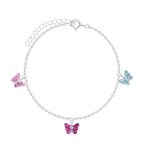 KAYA sieraden Zilveren Kinderarmband 'Glitter butterfly' met 3 bedels