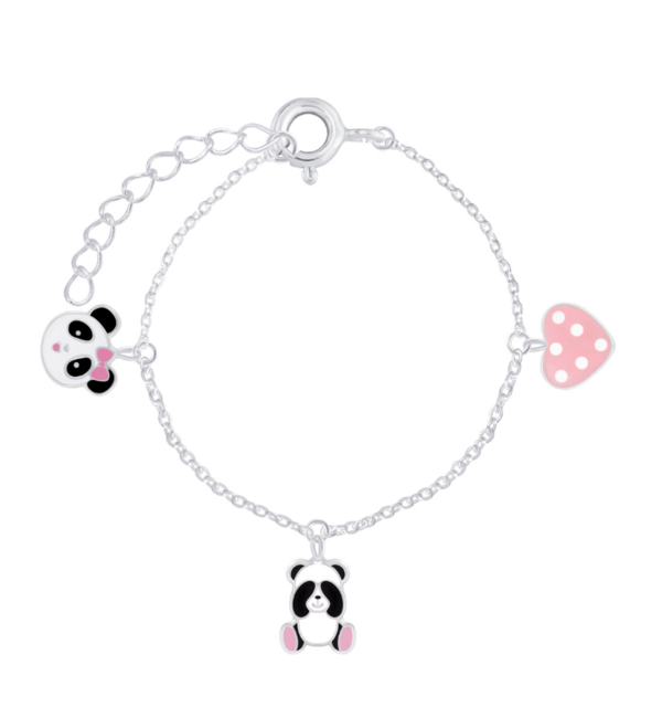 KAYA sieraden Zilveren Kinderarmband 'Panda's' met 3 bedels