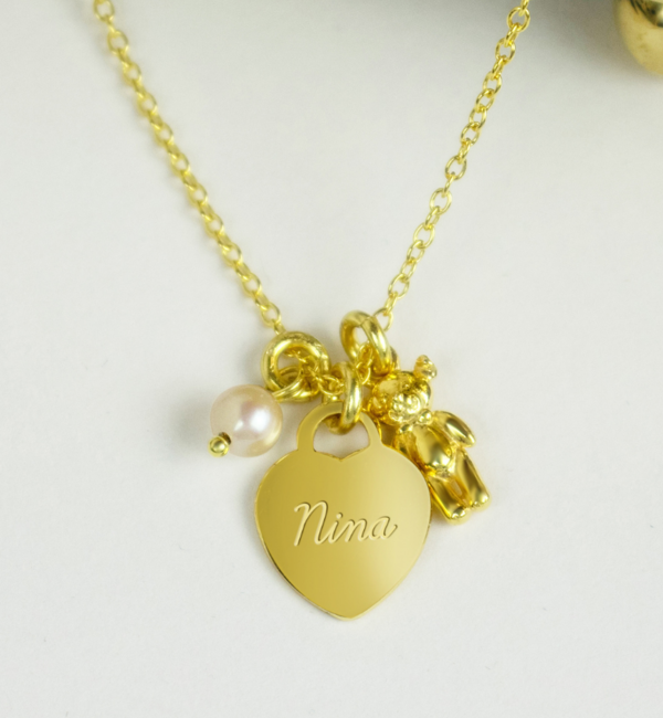 KAYA sieraden Silver children's necklace with engraving begging 'teddy bear'