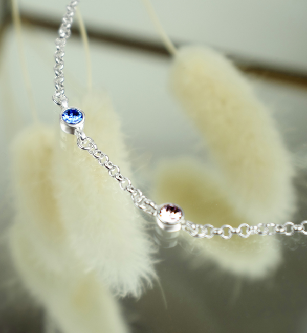 Gegraveerde sieraden Ketting met Geboortestenen naar Keuze