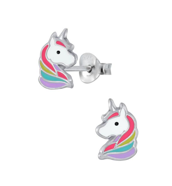 KAYA sieraden Zilveren kinderoorbellen 'Unicorn' rood
