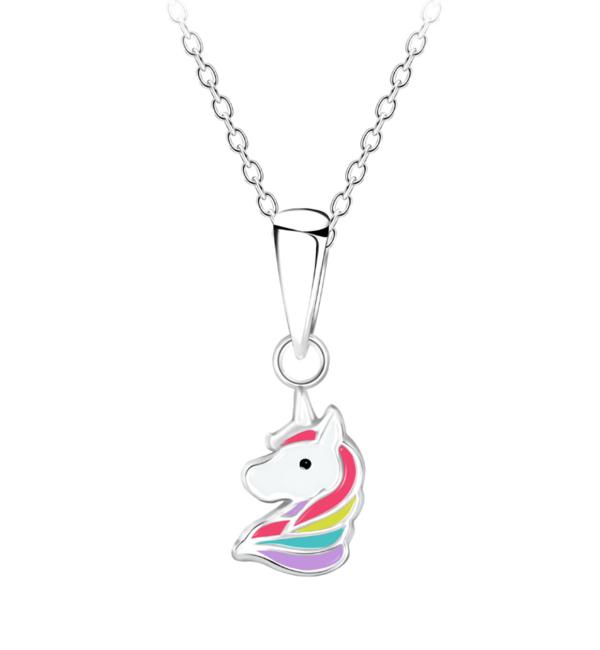 KAYA sieraden Zilveren Kinderketting 'Unicorn' rood