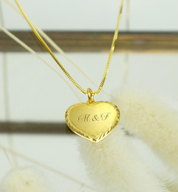 Sieraden graveren Gepersonaliseerde Vergulde Ketting 'Vintage Heart' met Gravure