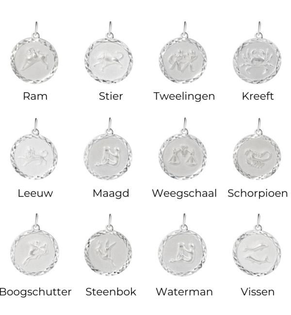 Sieraden graveren Zilveren Bedel met Sterrenbeeld