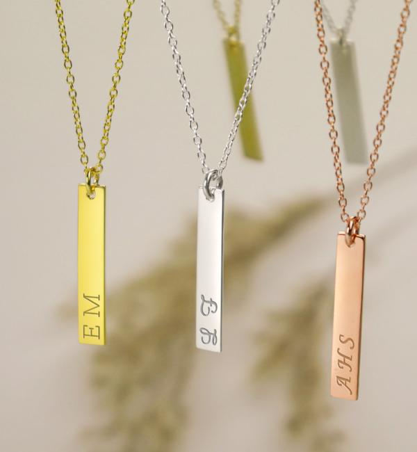 KAYA sieraden Zilveren Ketting met Gravure 'Flat Bar'