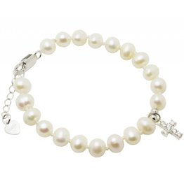 Communion silver bracelet 'Potato Pearl' with crystal cross