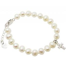 KAYA Communion silver bracelet 'Potato Pearl' with crystal cross