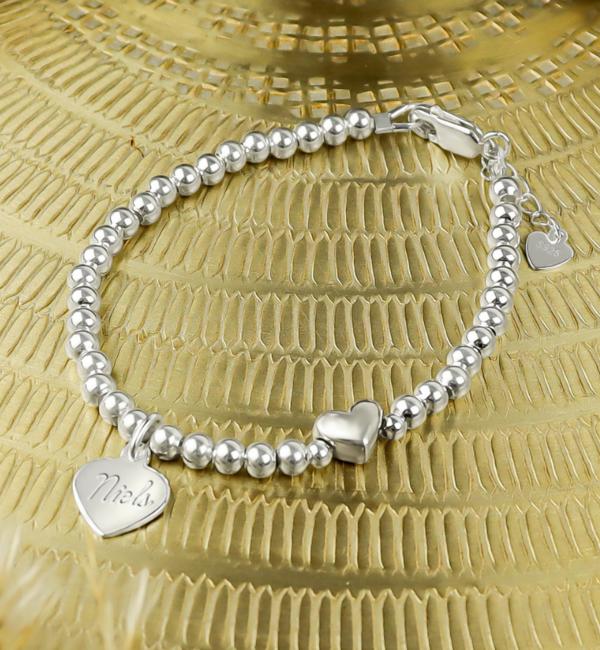 Sieraden graveren Zilveren Armband 'Cute Heart' met Gravure