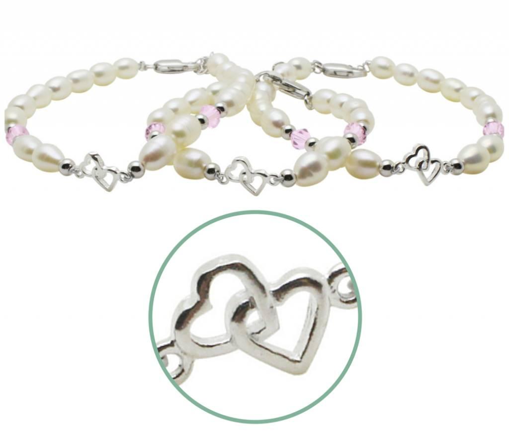 Zilveren 3 generatie armbanden 'you & me forever'