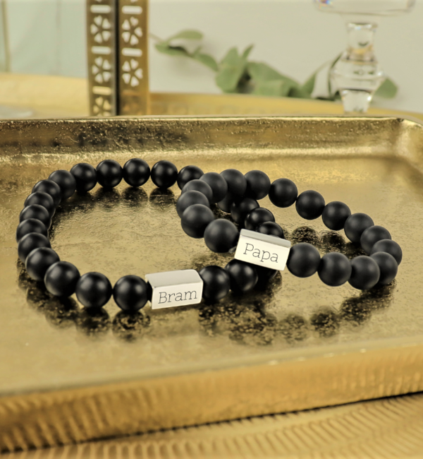 Sieraden graveren Jongens Armband met Zwarte Onyx Kralen