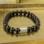 Sieraden graveren Armband Heren met Zwarte Kralen
